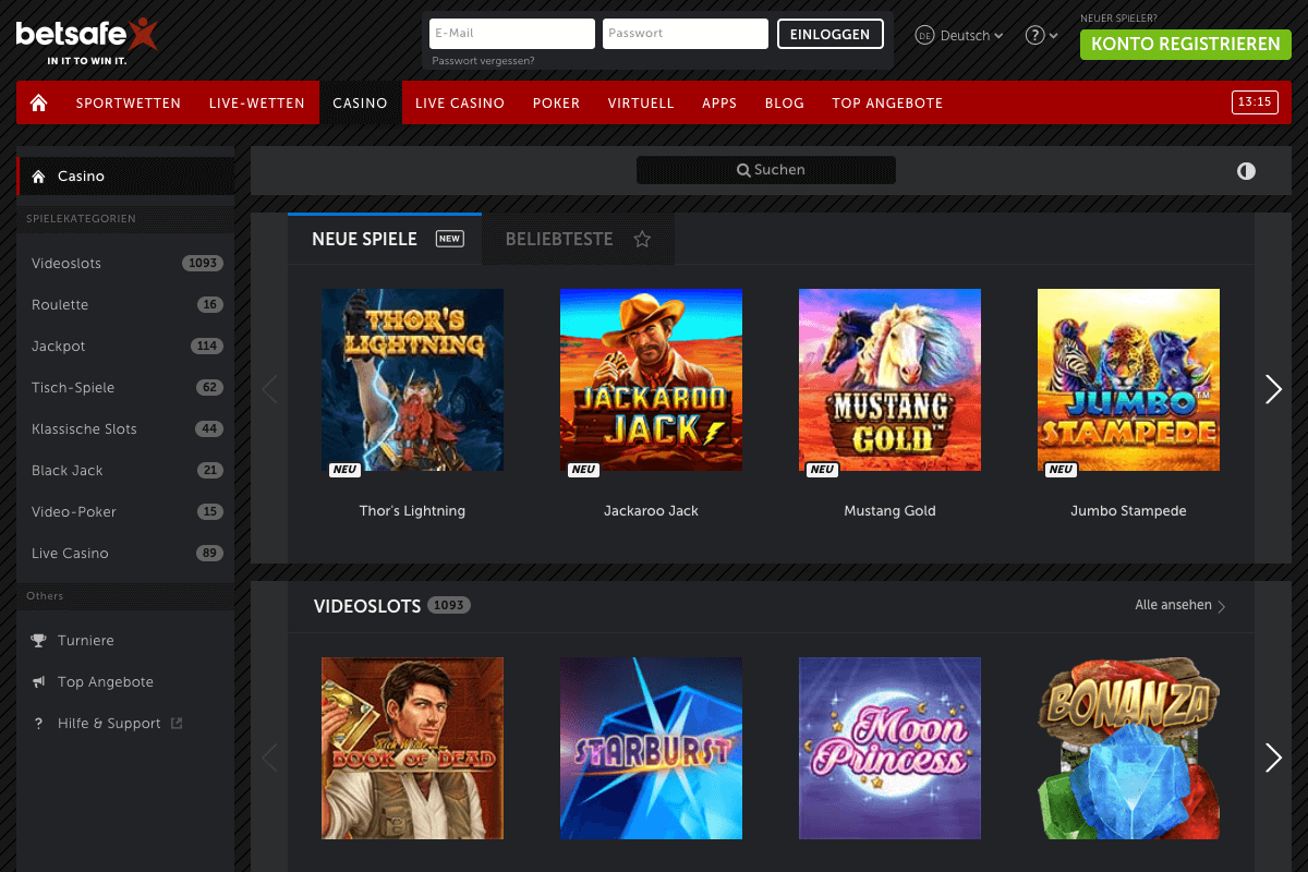Screenshot der Lobby des Betsafe Casinos