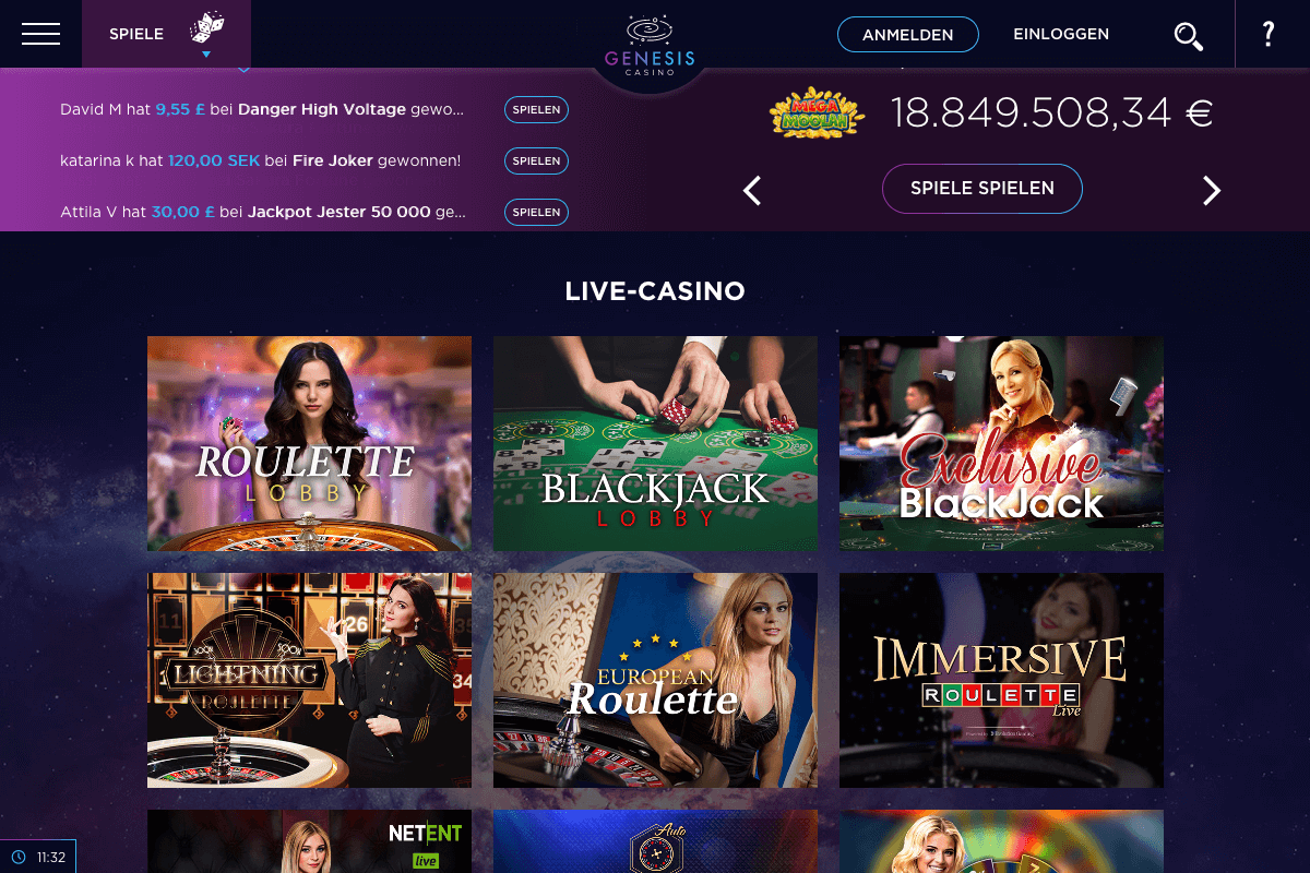 Screenshot der Lobby des Genesis Casinos
