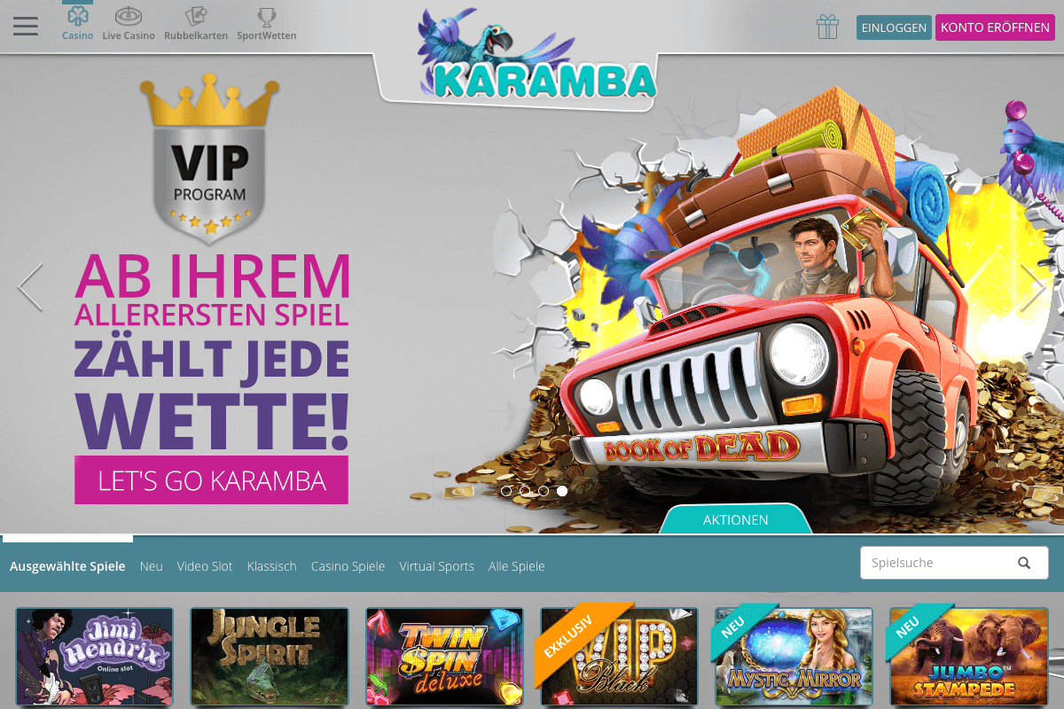Screenshot der Lobby des Karamba Casinos