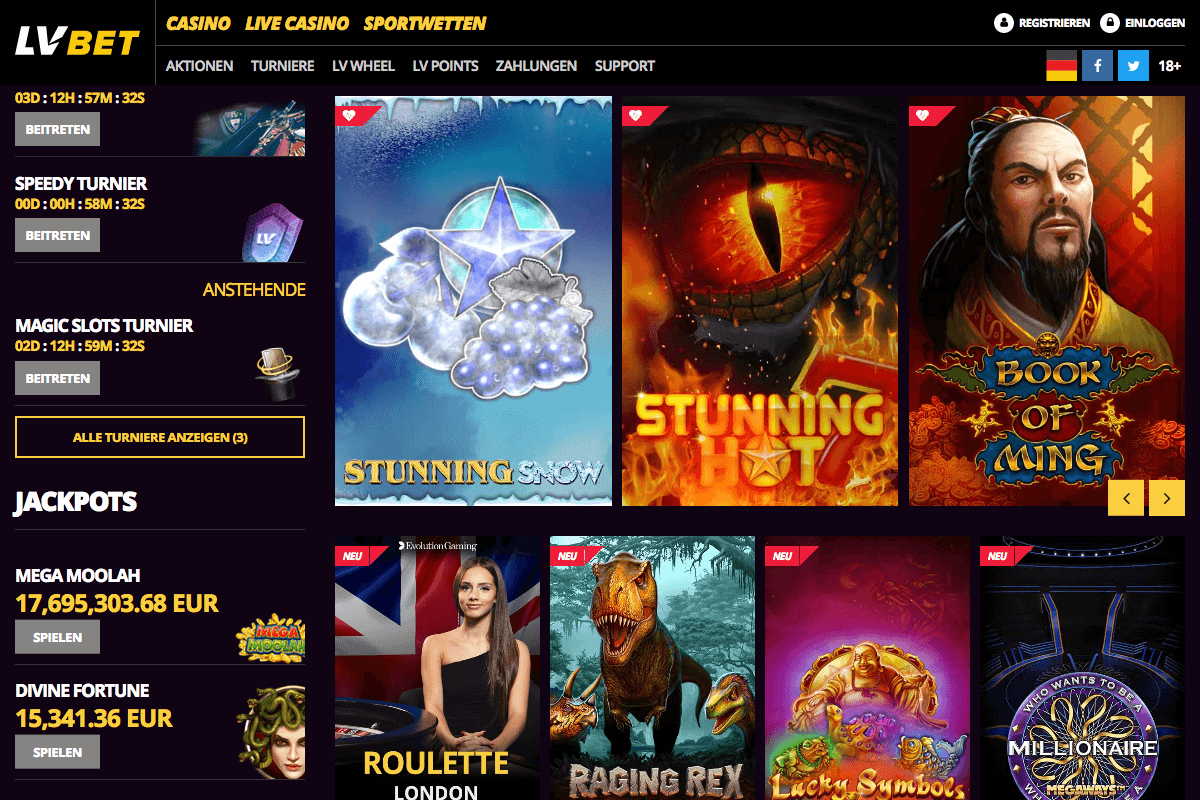 Screenshot der Lobby des LV Bet Casinos