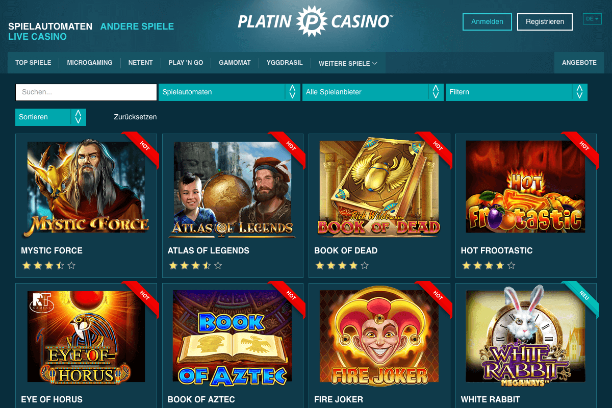 Screenshot der Lobby des Platin Casinos