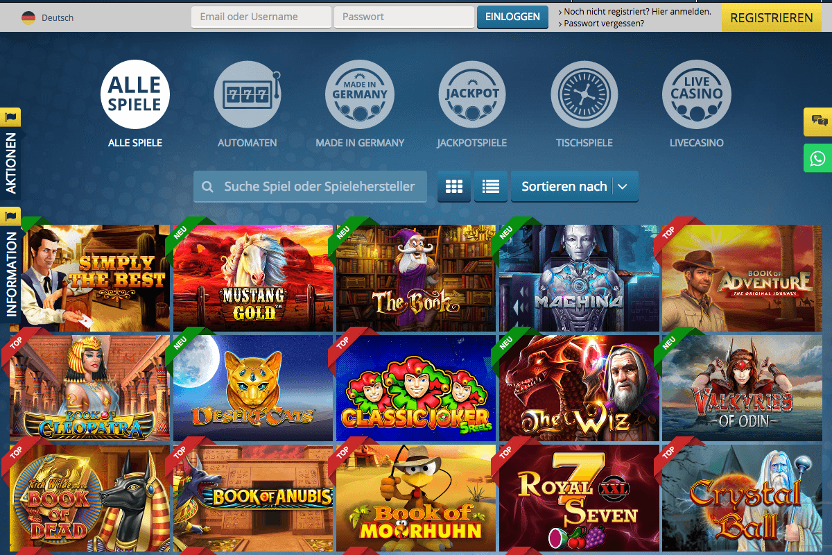 Screenshot der Lobby des Sunmaker Casinos